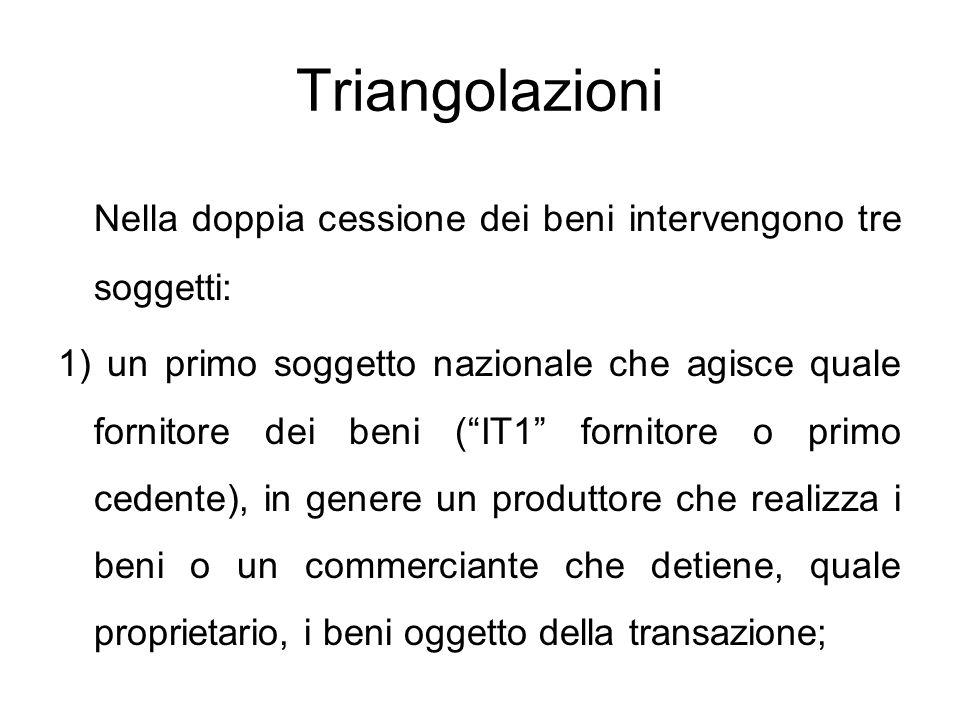 Triangolazioni Nella doppia cessione dei beni intervengono tre soggetti: