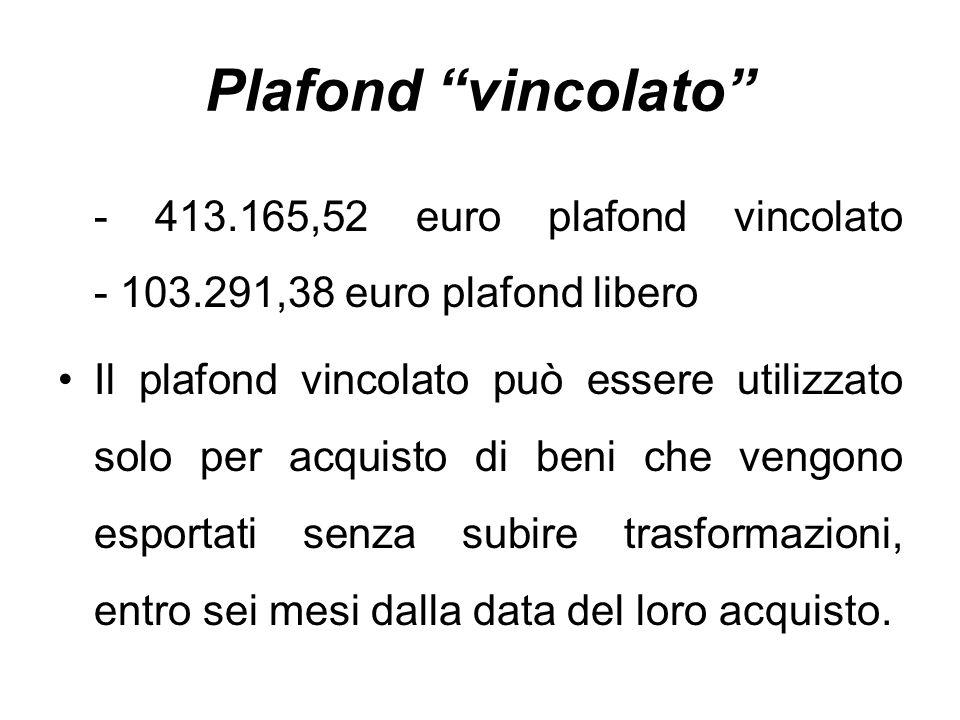 Plafond vincolato - 413.165,52 euro plafond vincolato - 103.291,38 euro plafond libero.