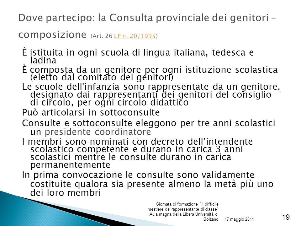 È istituita in ogni scuola di lingua italiana, tedesca e ladina