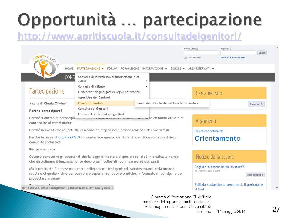 Opportunità … partecipazione http://www. apritiscuola