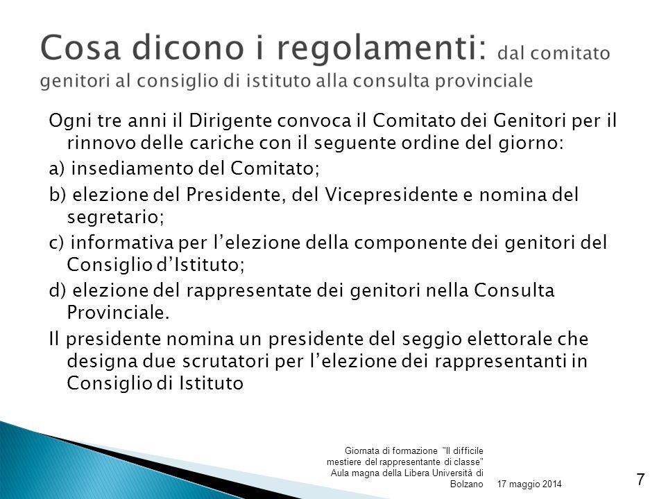 a) insediamento del Comitato;