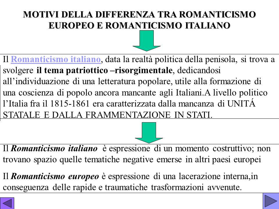 MOTIVI DELLA DIFFERENZA TRA ROMANTICISMO EUROPEO E ROMANTICISMO ITALIANO