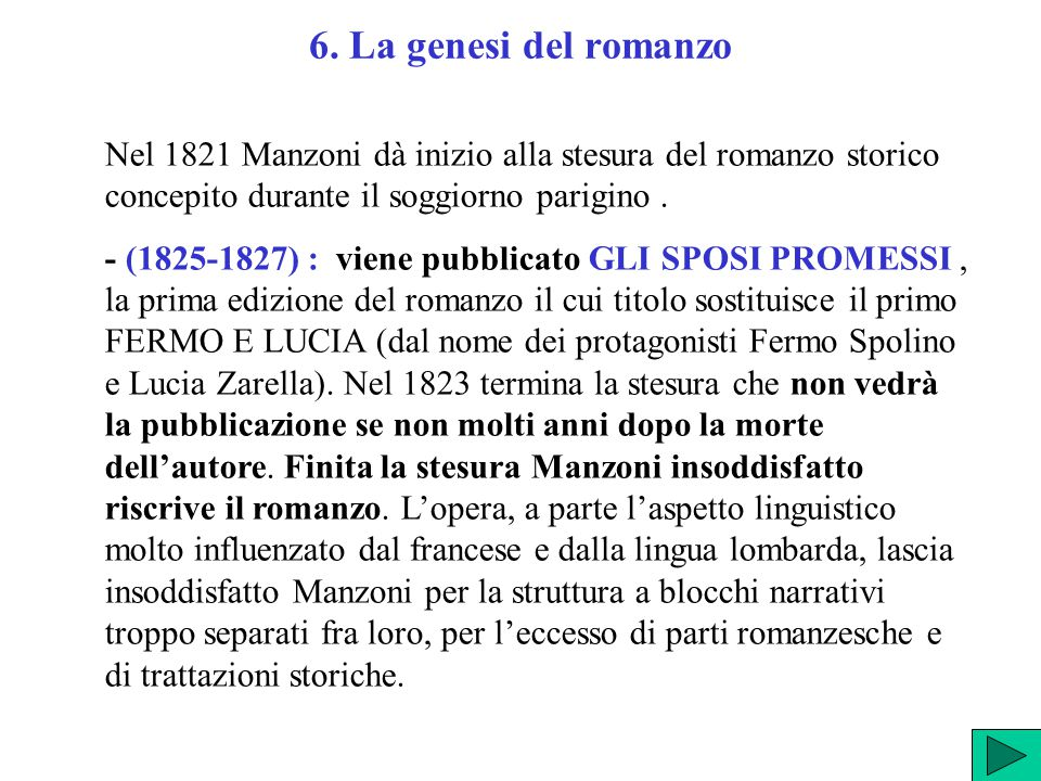 6. La genesi del romanzo Nel 1821 Manzoni dà inizio alla stesura del romanzo storico concepito durante il soggiorno parigino .