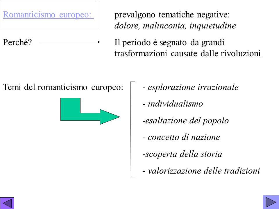 Romanticismo europeo:. prevalgono tematiche negative:
