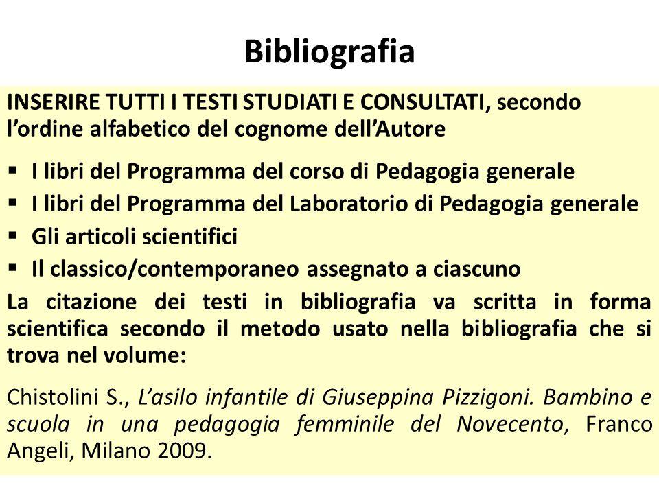 Bibliografia INSERIRE TUTTI I TESTI STUDIATI E CONSULTATI, secondo l'ordine alfabetico del cognome dell'Autore.