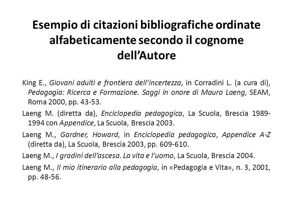 Esempio di citazioni bibliografiche ordinate alfabeticamente secondo il cognome dell'Autore