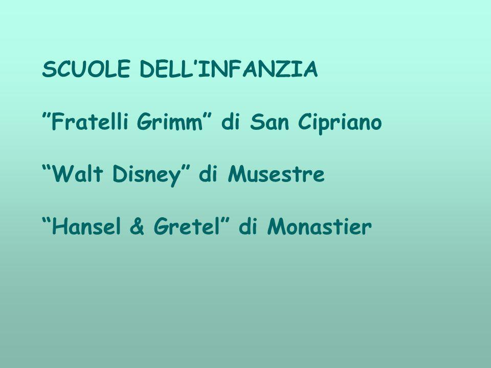 SCUOLE DELL'INFANZIA Fratelli Grimm di San Cipriano Walt Disney di Musestre Hansel & Gretel di Monastier
