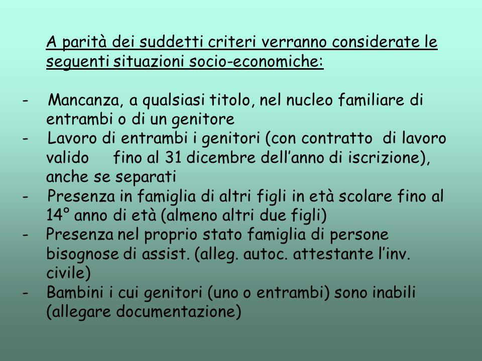 A parità dei suddetti criteri verranno considerate le seguenti situazioni socio-economiche: