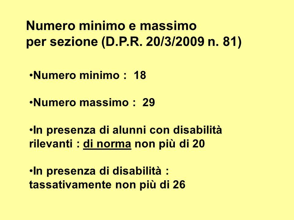 Numero minimo e massimo per sezione (D.P.R. 20/3/2009 n. 81)