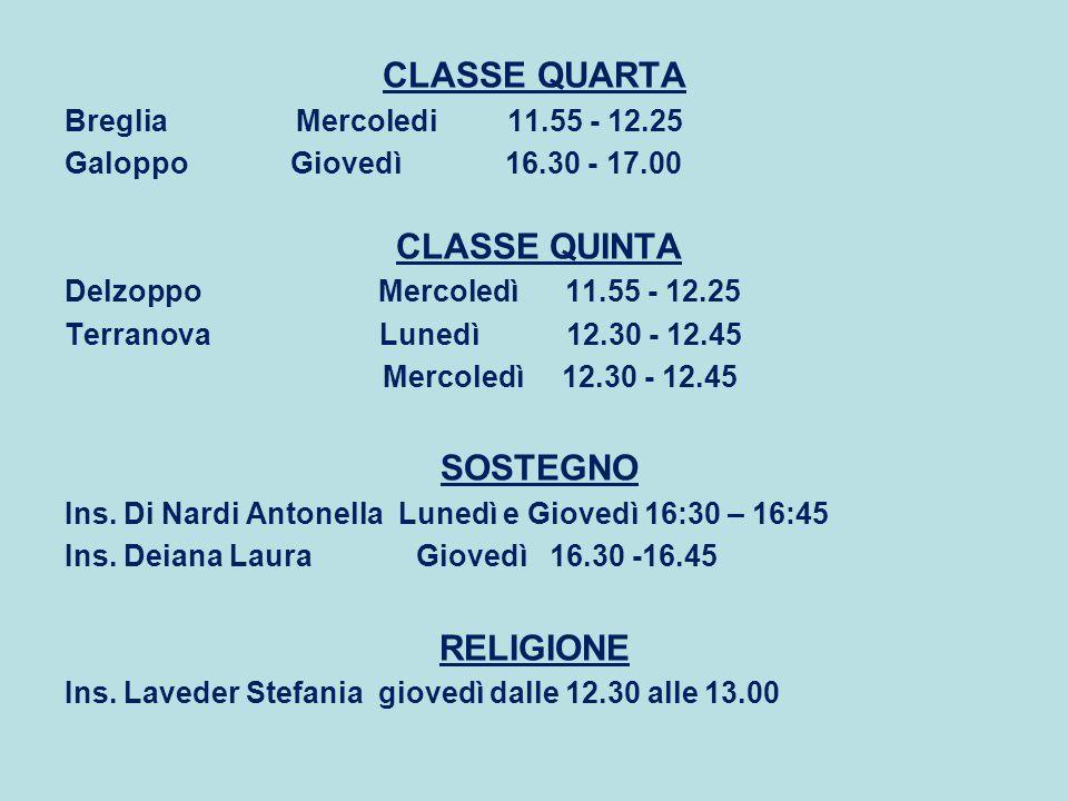 CLASSE QUARTA CLASSE QUINTA SOSTEGNO RELIGIONE