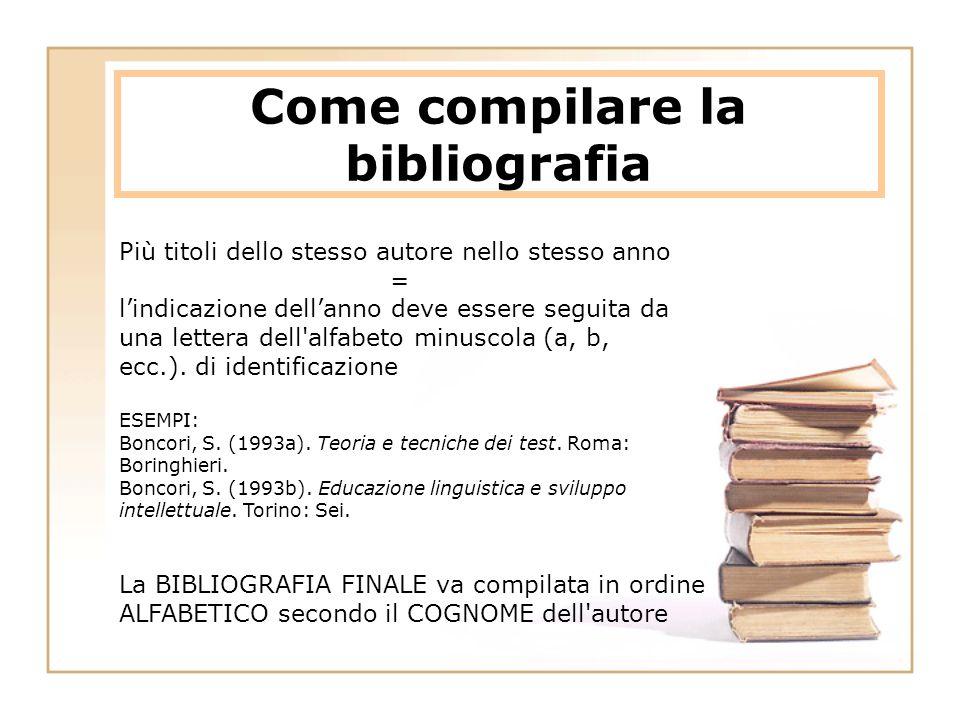 Come compilare la bibliografia