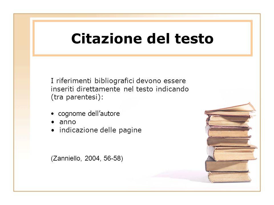 Citazione del testo I riferimenti bibliografici devono essere inseriti direttamente nel testo indicando (tra parentesi):
