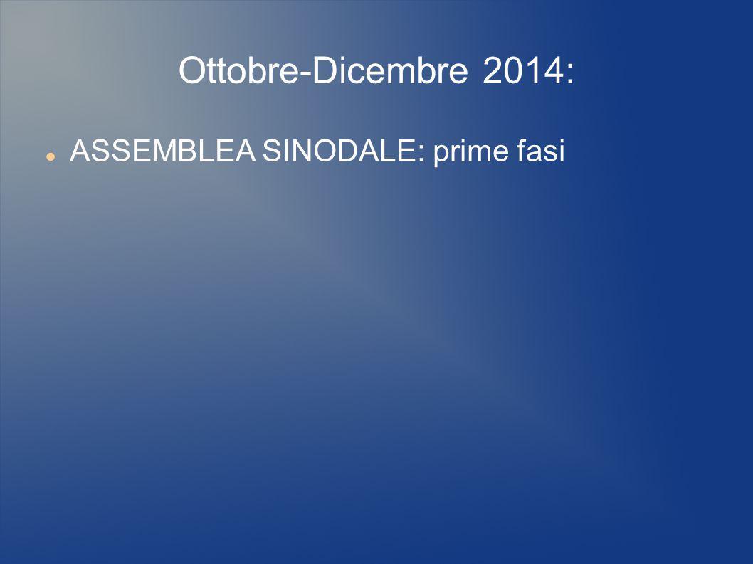 Ottobre-Dicembre 2014: ASSEMBLEA SINODALE: prime fasi