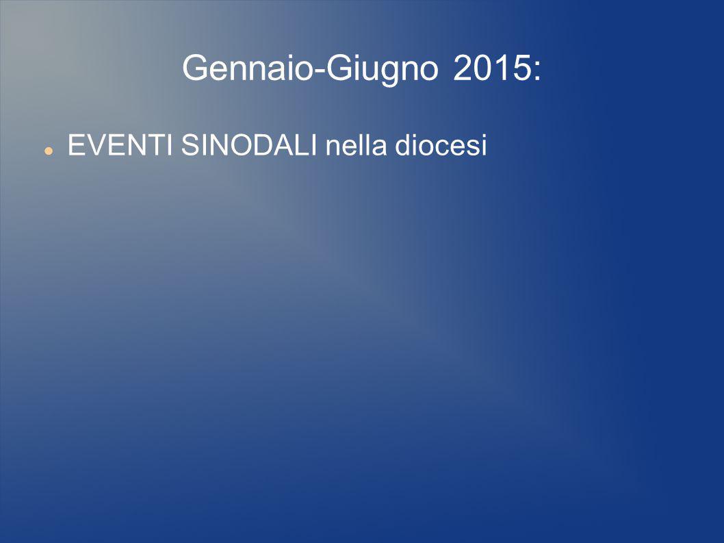 Gennaio-Giugno 2015: EVENTI SINODALI nella diocesi