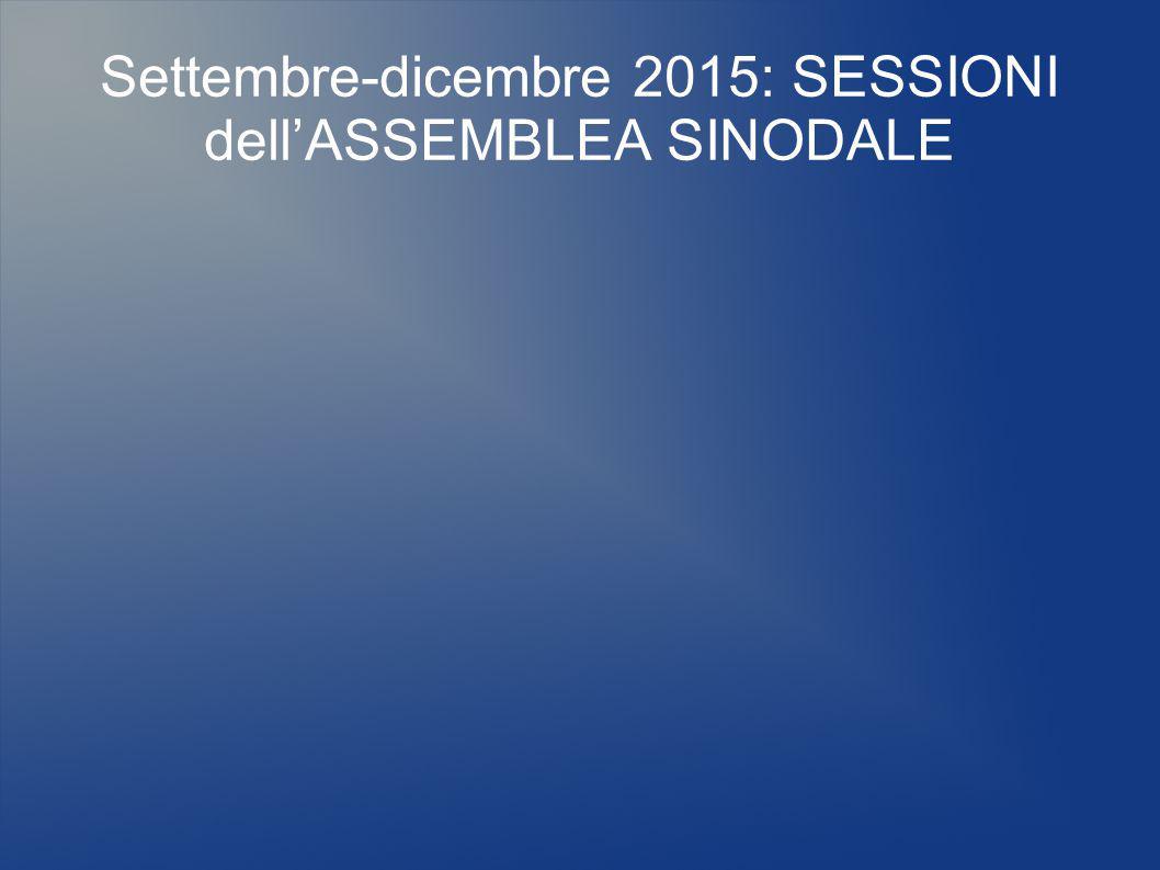 Settembre-dicembre 2015: SESSIONI dell'ASSEMBLEA SINODALE