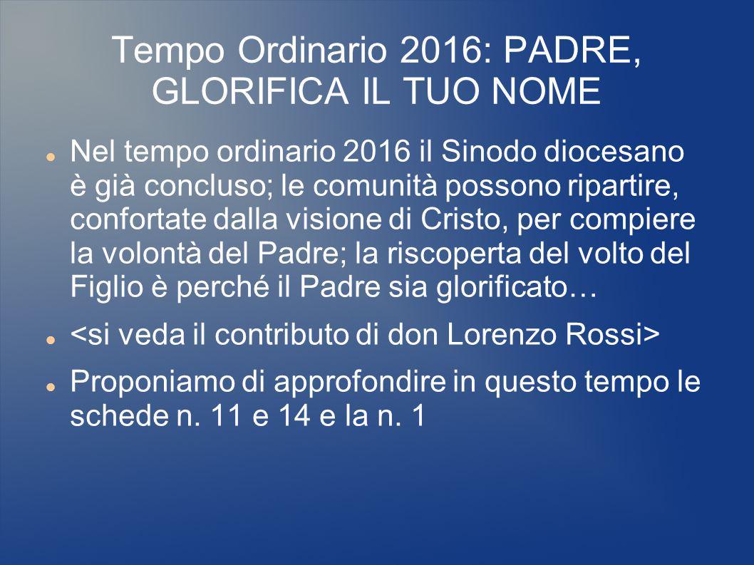 Tempo Ordinario 2016: PADRE, GLORIFICA IL TUO NOME