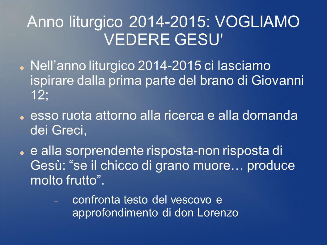 Anno liturgico 2014-2015: VOGLIAMO VEDERE GESU