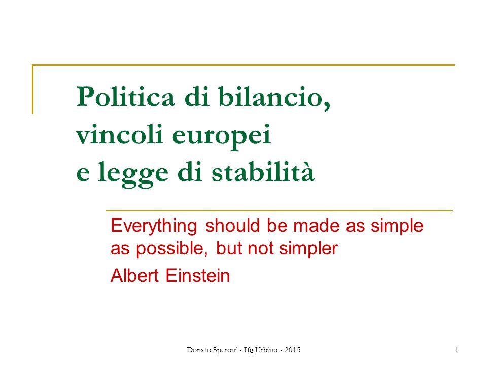 Politica di bilancio, vincoli europei e legge di stabilità