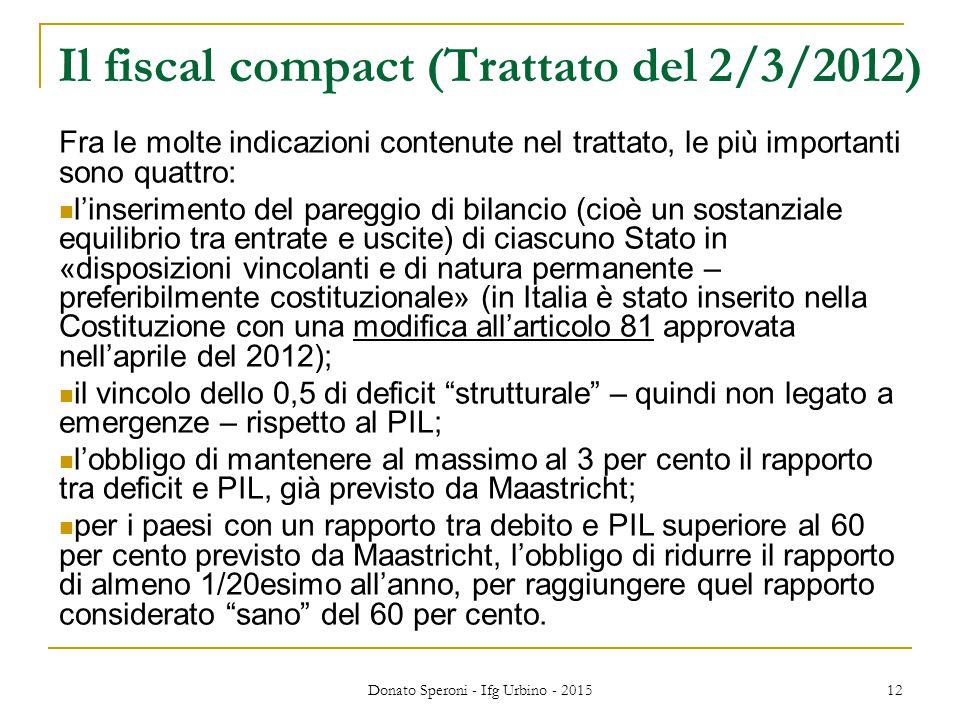 Il fiscal compact (Trattato del 2/3/2012)