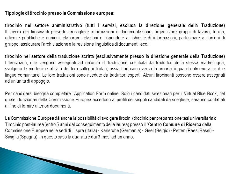 Tipologie di tirocinio presso la Commissione europea: