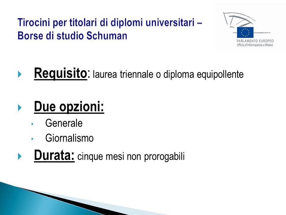 Requisito: laurea triennale o diploma equipollente Due opzioni: