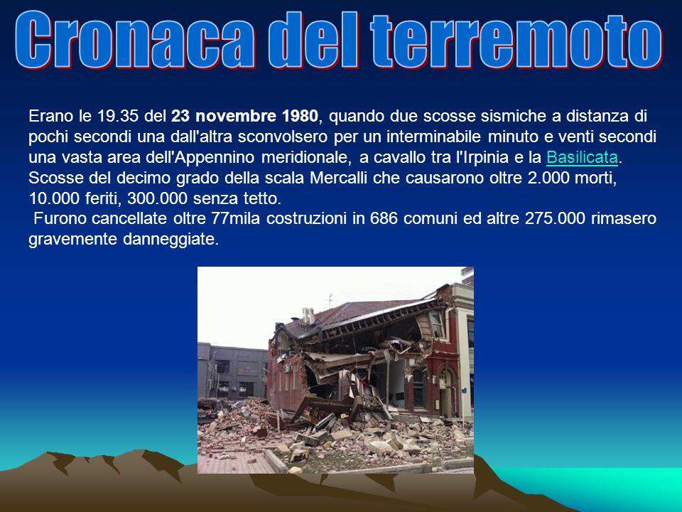 Cronaca del terremoto
