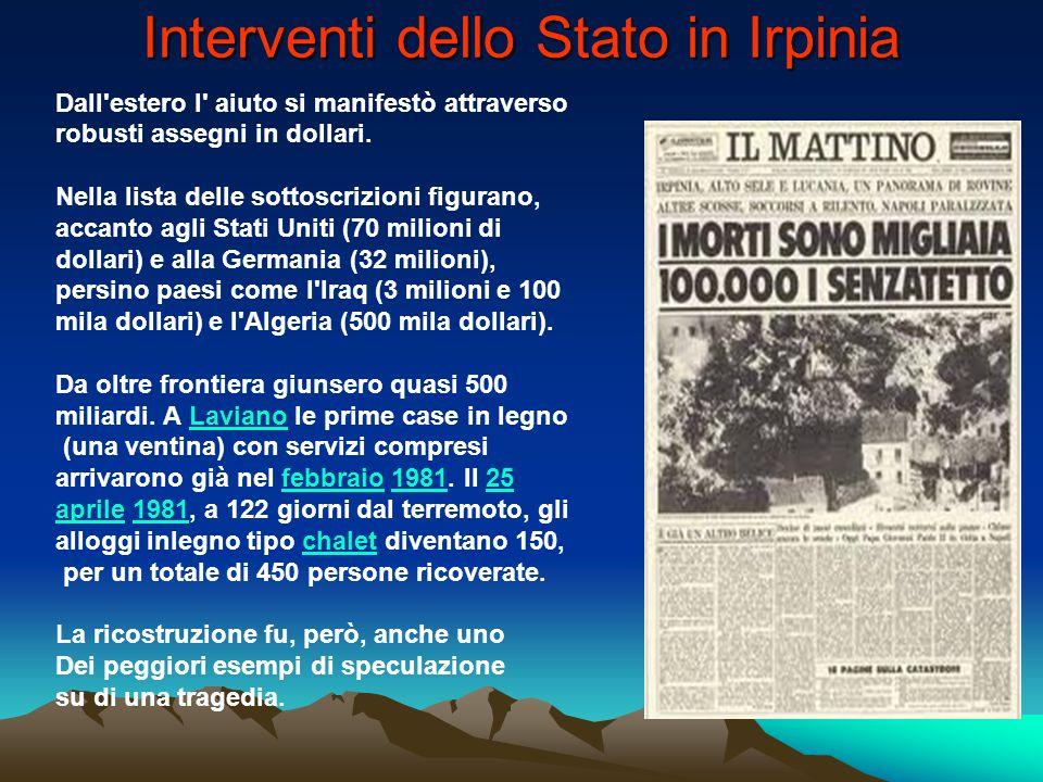 Interventi dello Stato in Irpinia
