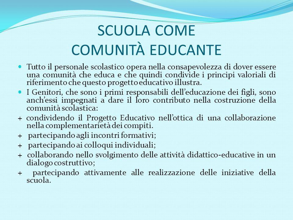 SCUOLA COME COMUNITÀ EDUCANTE