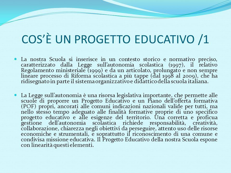 COS'È UN PROGETTO EDUCATIVO /1