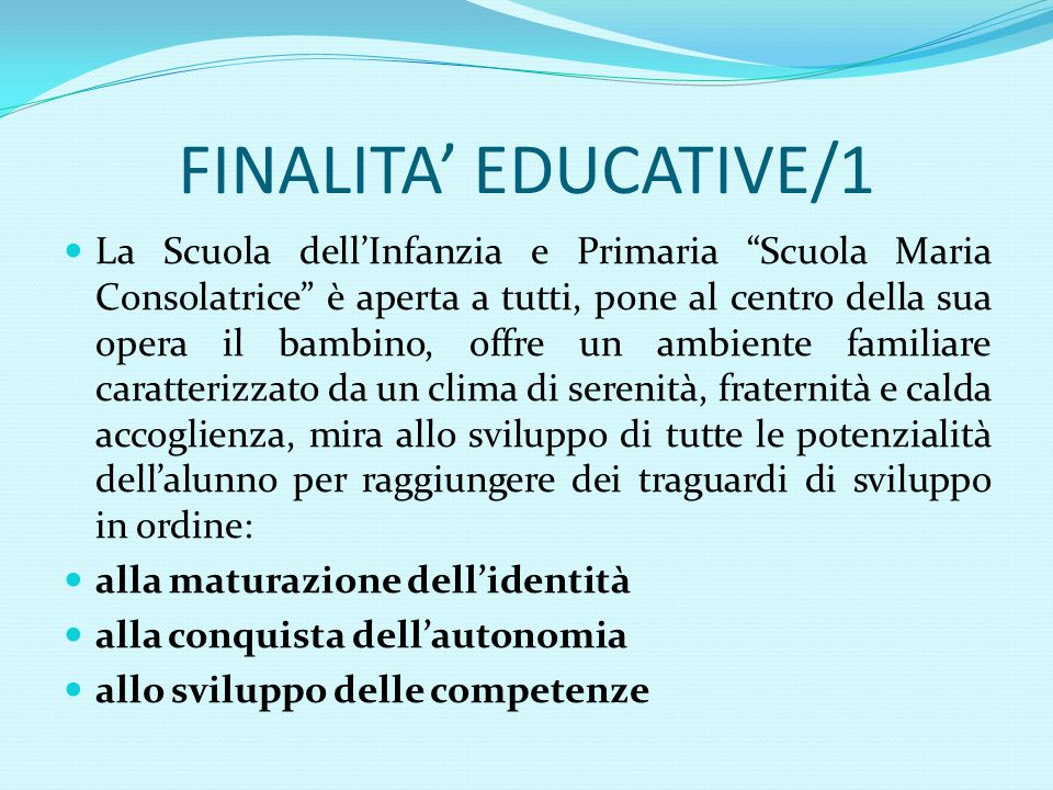 FINALITA' EDUCATIVE/1
