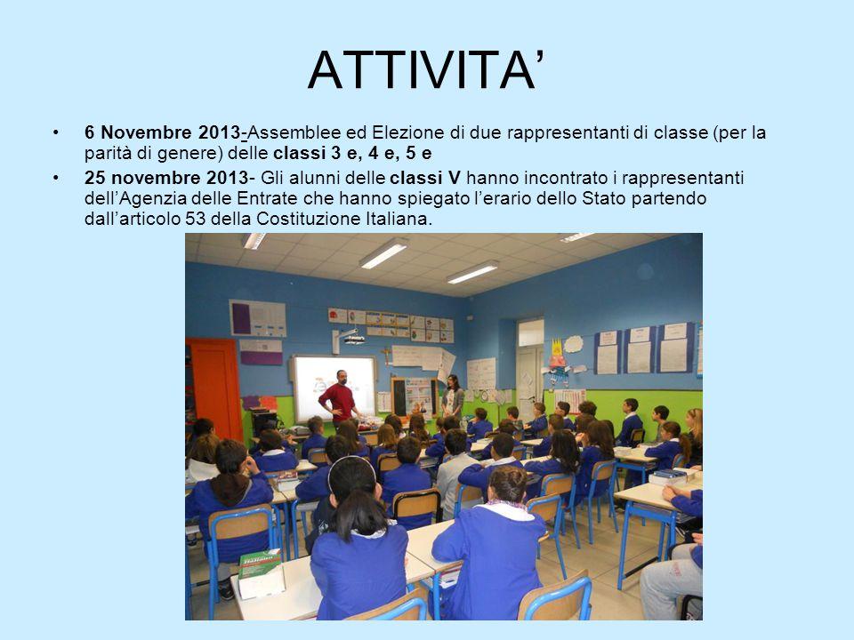 ATTIVITA' 6 Novembre 2013-Assemblee ed Elezione di due rappresentanti di classe (per la parità di genere) delle classi 3 e, 4 e, 5 e.