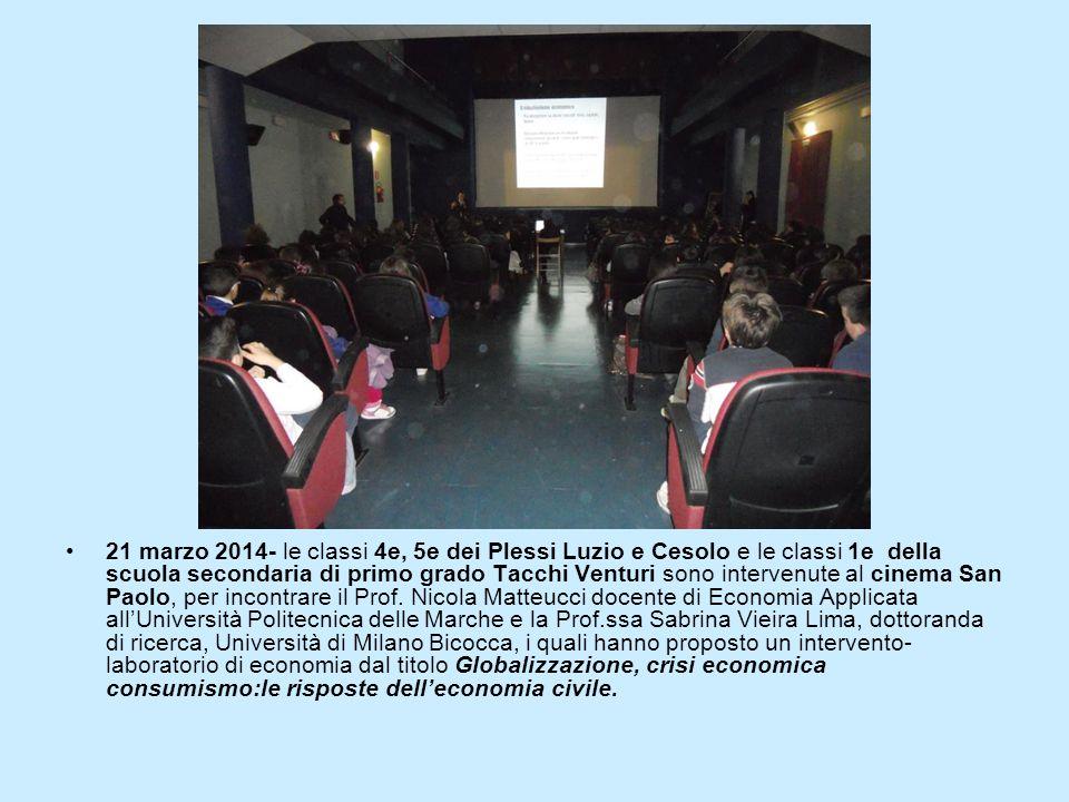 21 marzo 2014- le classi 4e, 5e dei Plessi Luzio e Cesolo e le classi 1e della scuola secondaria di primo grado Tacchi Venturi sono intervenute al cinema San Paolo, per incontrare il Prof.