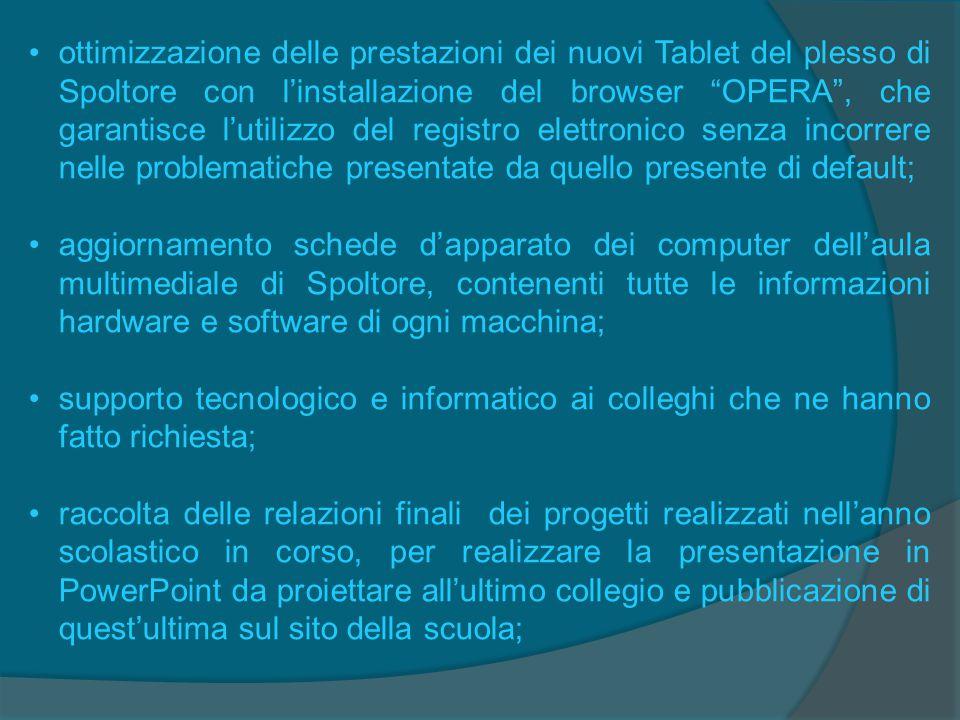 ottimizzazione delle prestazioni dei nuovi Tablet del plesso di Spoltore con l'installazione del browser OPERA , che garantisce l'utilizzo del registro elettronico senza incorrere nelle problematiche presentate da quello presente di default;