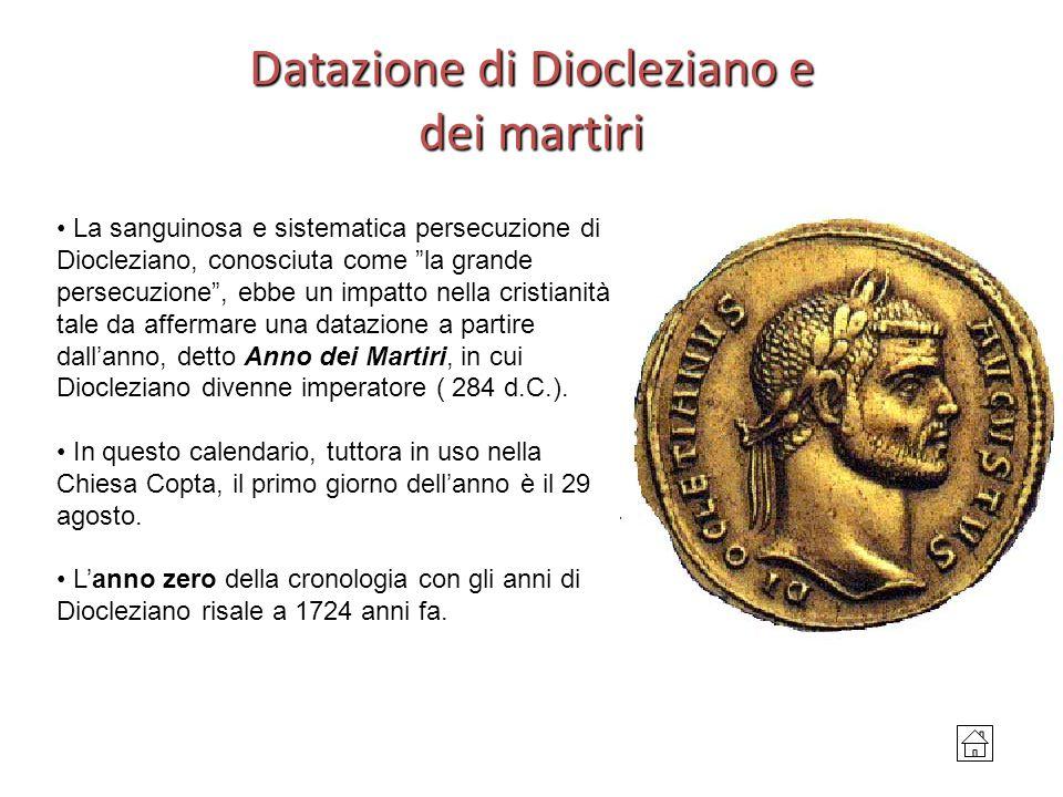 Datazione di Diocleziano e dei martiri