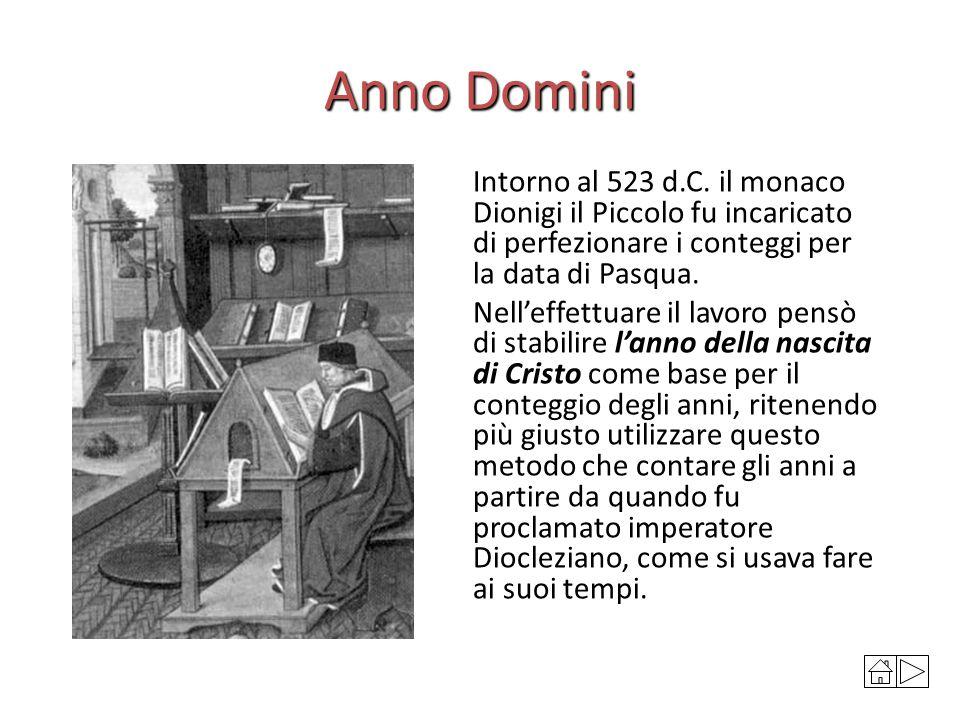 Anno Domini Intorno al 523 d.C. il monaco Dionigi il Piccolo fu incaricato di perfezionare i conteggi per la data di Pasqua.