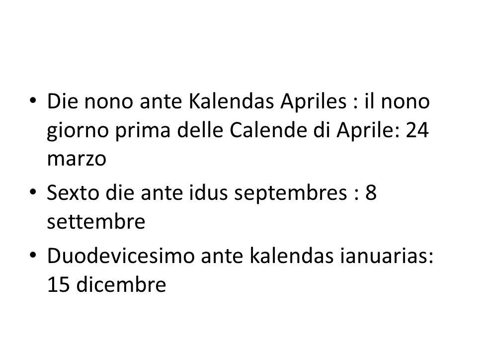 Die nono ante Kalendas Apriles : il nono giorno prima delle Calende di Aprile: 24 marzo