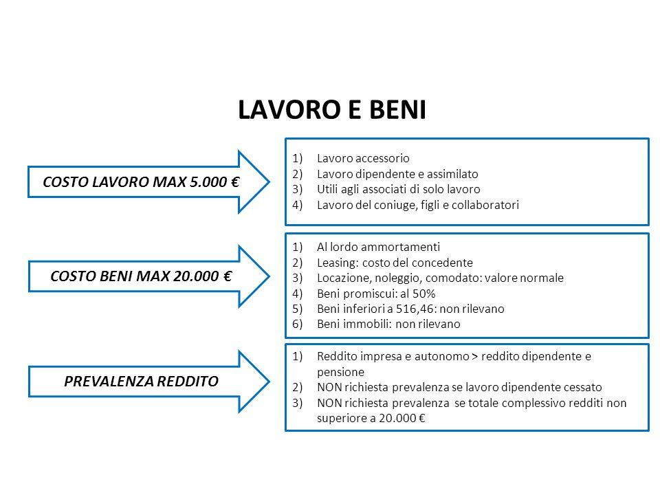 LAVORO E BENI Nuovo Regime Forfetario pag. COSTO LAVORO MAX 5.000 €