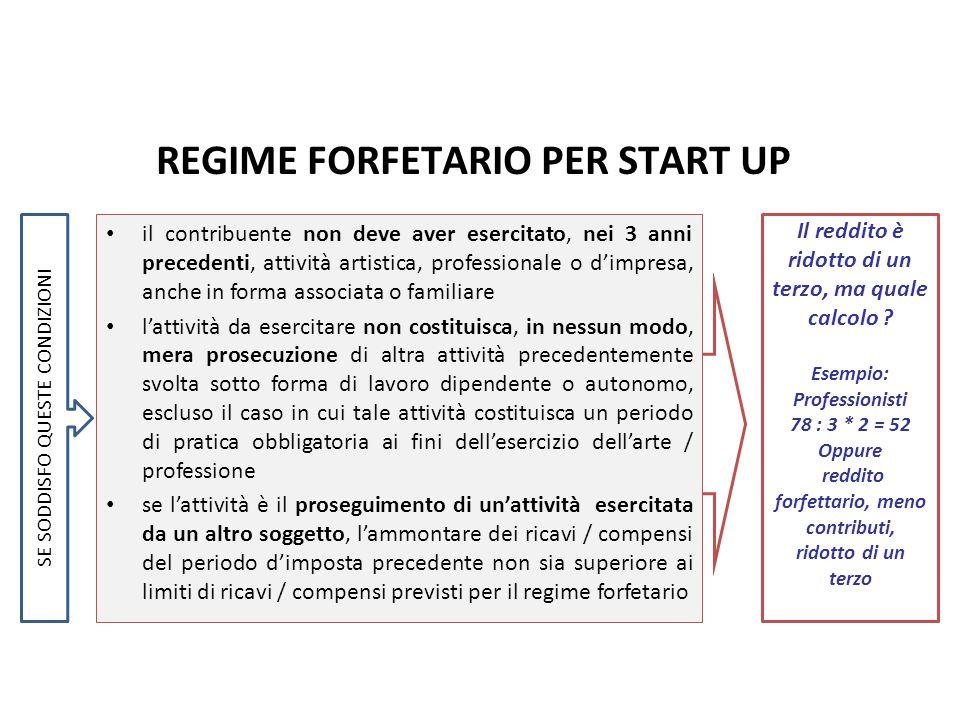 REGIME FORFETARIO PER START UP