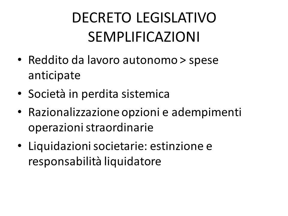 DECRETO LEGISLATIVO SEMPLIFICAZIONI