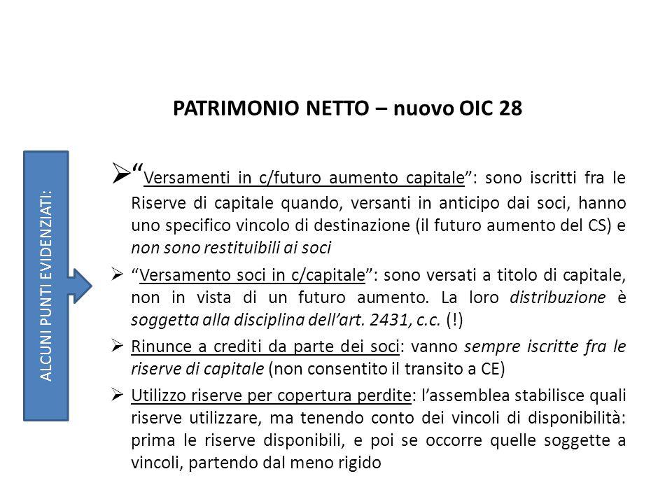 PATRIMONIO NETTO – nuovo OIC 28