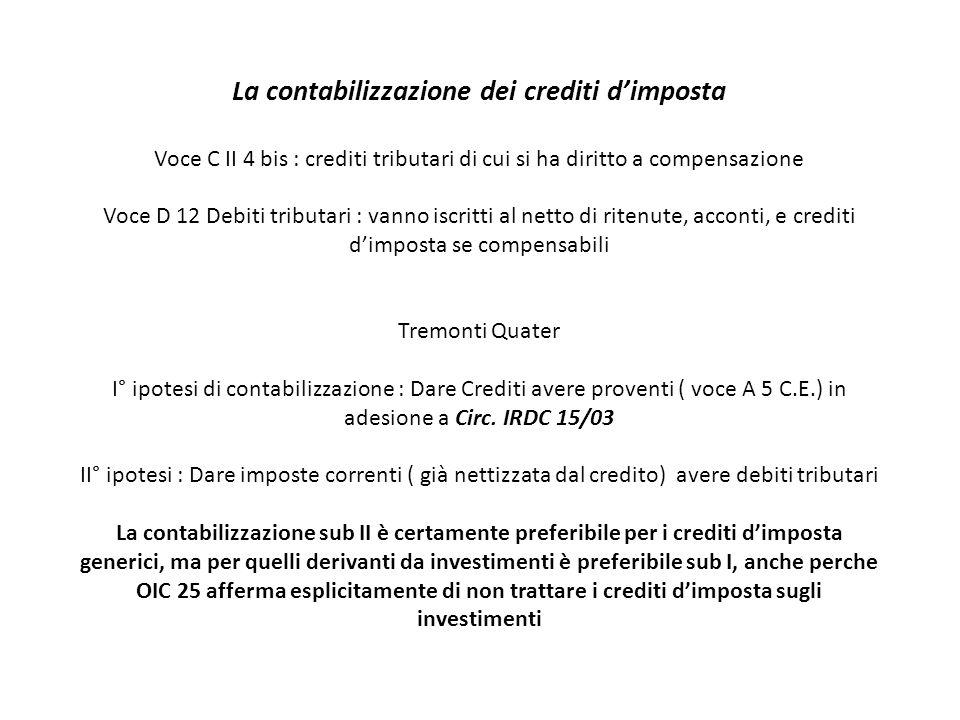 La contabilizzazione dei crediti d'imposta Voce C II 4 bis : crediti tributari di cui si ha diritto a compensazione Voce D 12 Debiti tributari : vanno iscritti al netto di ritenute, acconti, e crediti d'imposta se compensabili Tremonti Quater I° ipotesi di contabilizzazione : Dare Crediti avere proventi ( voce A 5 C.E.) in adesione a Circ.