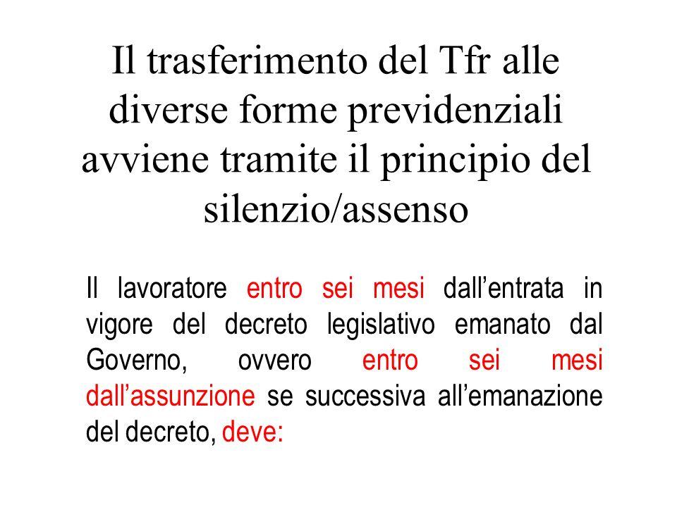 Il trasferimento del Tfr alle diverse forme previdenziali avviene tramite il principio del silenzio/assenso
