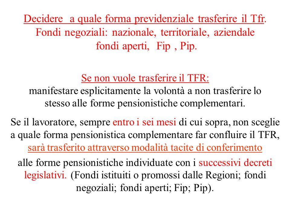 Decidere a quale forma previdenziale trasferire il Tfr.