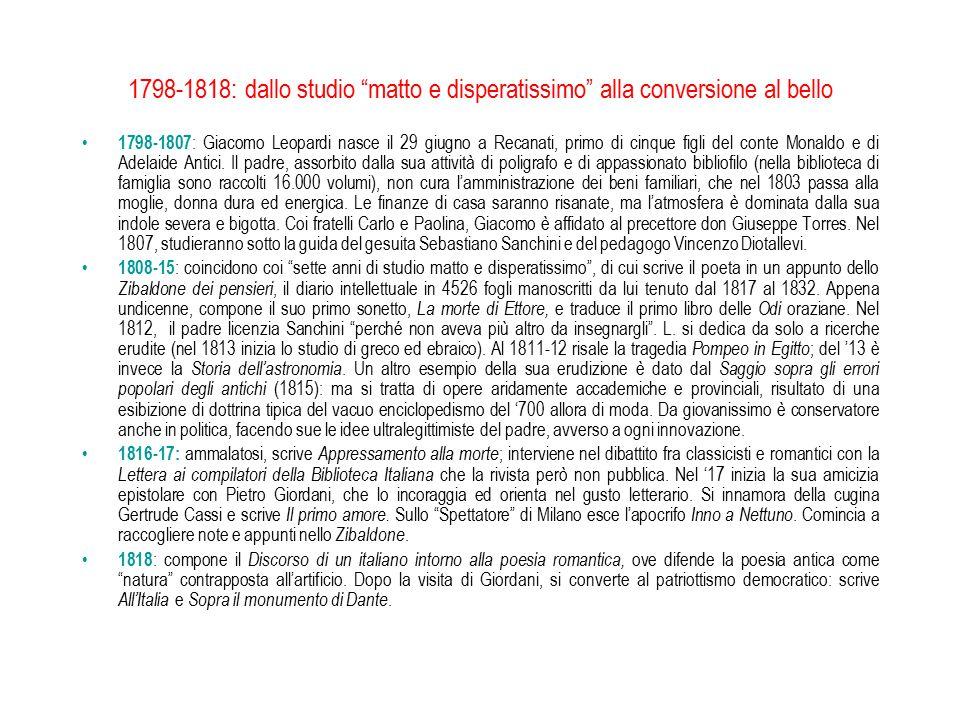 1798-1818: dallo studio matto e disperatissimo alla conversione al bello