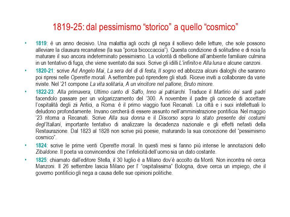 1819-25: dal pessimismo storico a quello cosmico