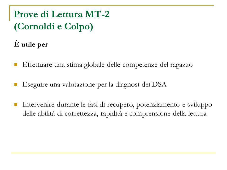 Prove di Lettura MT-2 (Cornoldi e Colpo)
