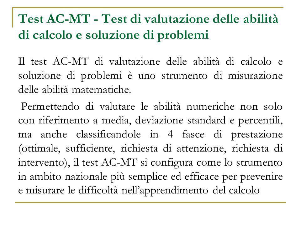Test AC-MT - Test di valutazione delle abilità di calcolo e soluzione di problemi