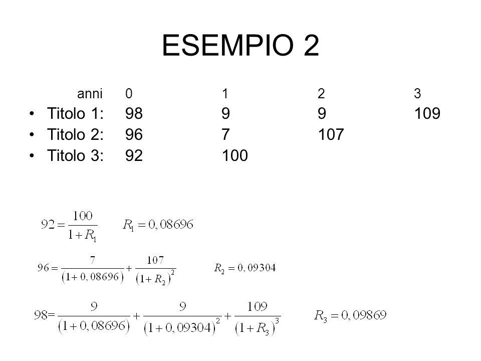 ESEMPIO 2 Titolo 1: 98 9 9 109 Titolo 2: 96 7 107 Titolo 3: 92 100