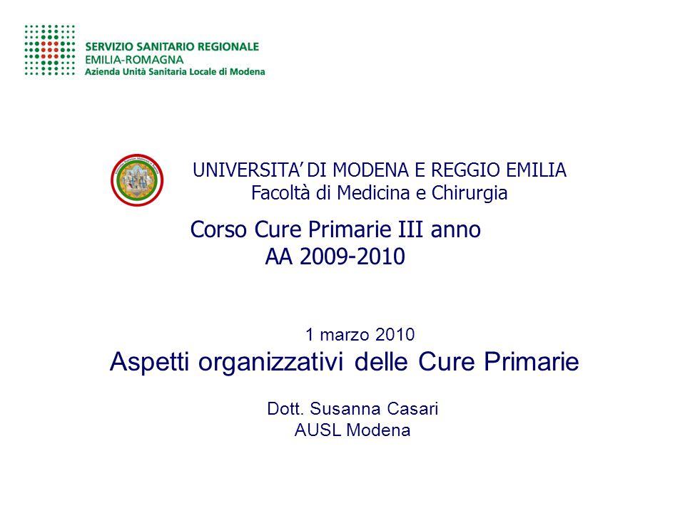 Aspetti organizzativi delle Cure Primarie
