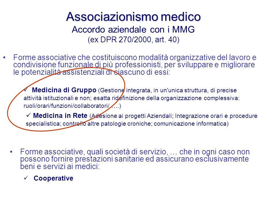 Associazionismo medico Accordo aziendale con i MMG (ex DPR 270/2000, art. 40)